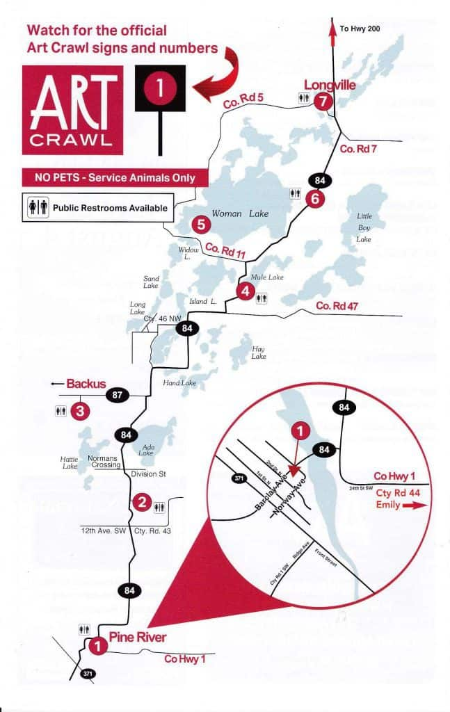 2018 Art Crawl site map